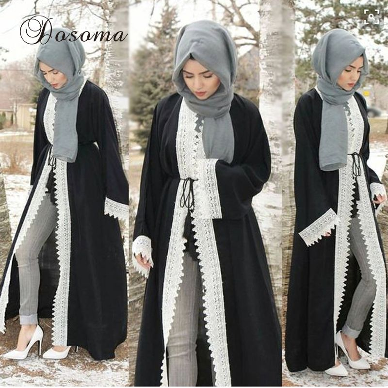 086bcf9389 Muslim Women Abaya Lace Maxi Dress Elegant Cardigan Loose Style Turkey  Middle East Long Robe Gowns Ramadan Arab Islamic Clothing  Abaya style