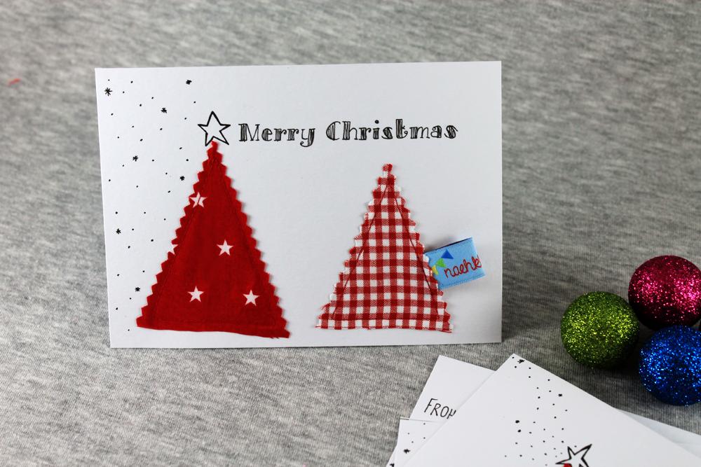 last minute Weihnachtskarte aus Stoffresten