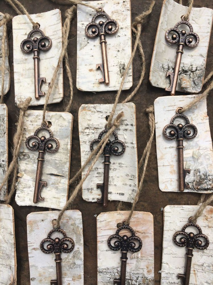 antique wedding favors. antique vintage key bottle openers with birch bark tags rustic wedding favor favors