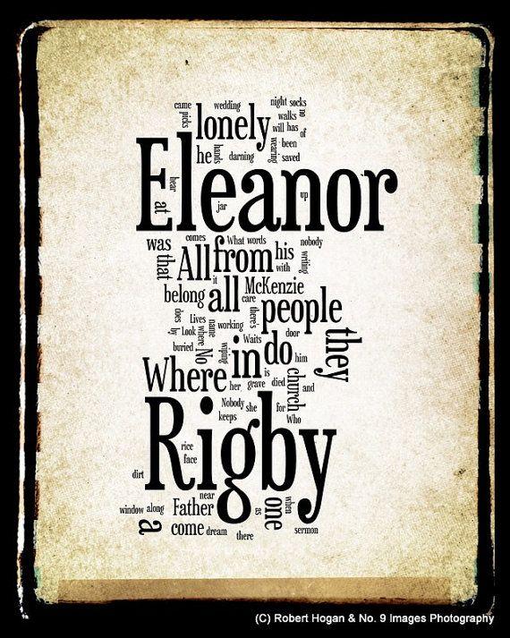 Eleanor Rigby Lyrics The Beatles Word Art Word By No9images 15 00 Teksten De Beatles