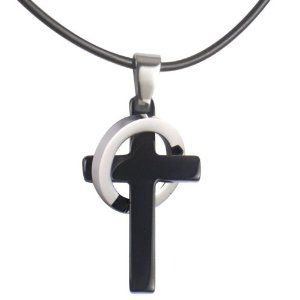 Cross and ring necklace meaning 2 ring necklace meaning necklaces men s black stainless steel elegant cross pendant ring necklace aloadofball Gallery