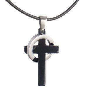 Mens black stainless steel elegant cross pendant ring necklace mens black stainless steel elegant cross pendant ring necklace jewelry http aloadofball Choice Image