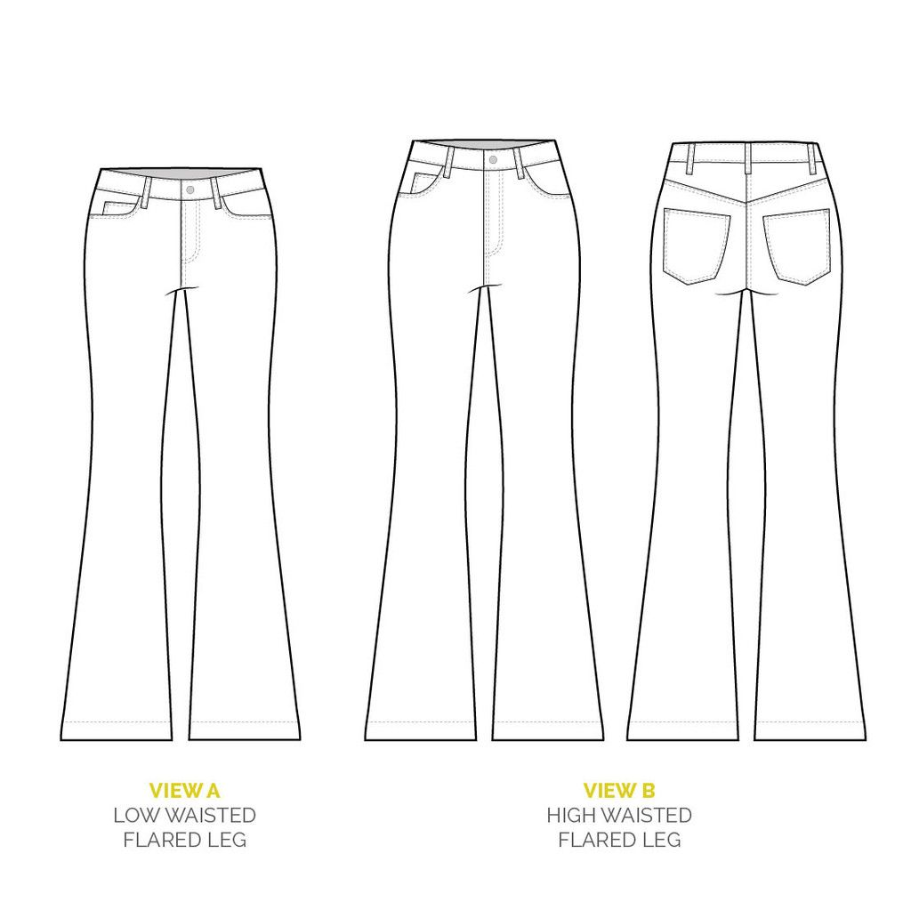 Ginger Flared Jeans pattern // Jeans technical drawing
