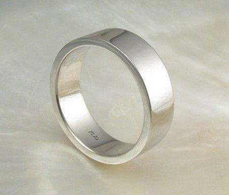 7mm Wide Mens Platinum Pipe Flat Wedding Band By RavensRefuge 208800