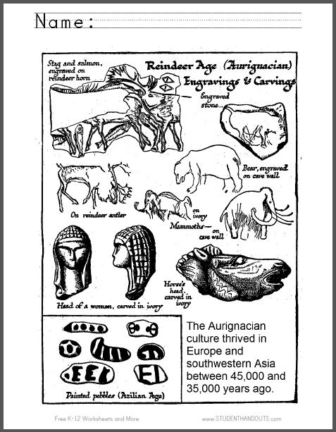 Aurignacian Age Coloring Page Free To Print Pdf File