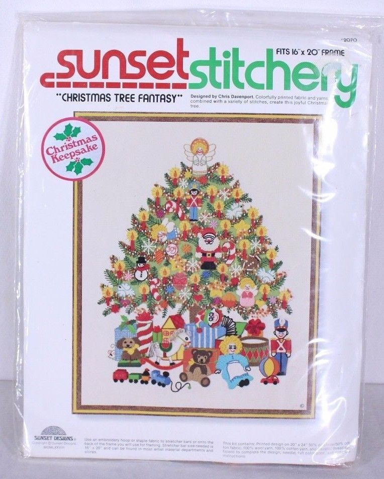 Crewel Embroidery 2070 Sunset Stitchery Kit Christmas Tree Fantasy By Davenport Crewel Embroidery Embroidery Kits Christmas Keepsakes