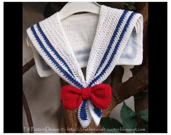 Sailor Collar Crochet Pattern With Red Bow For The Nautical Dress