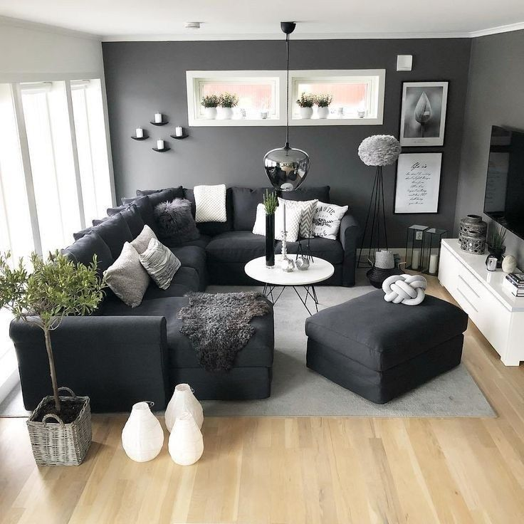 41 Grey Living Room Ideas For Gorgeous And Elegant Spaces 27 Living Room Decor Apartment Living Room Design Small Spaces Dark Furniture Living Room