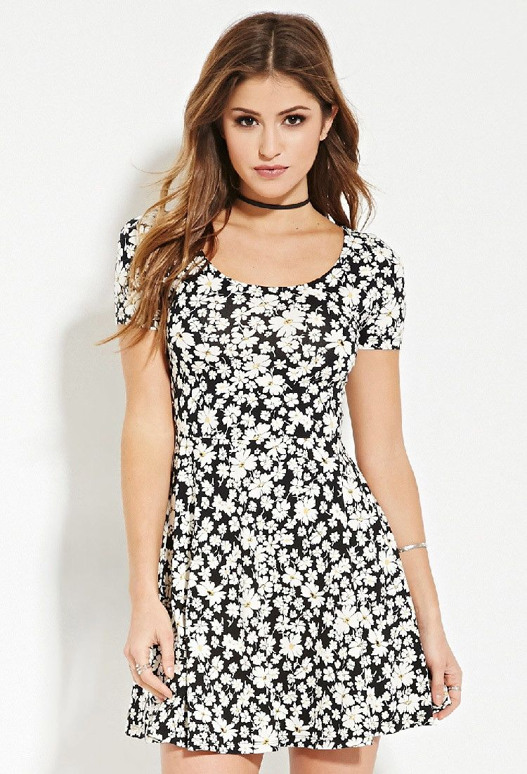 Floral print skater dress dresses forever uk