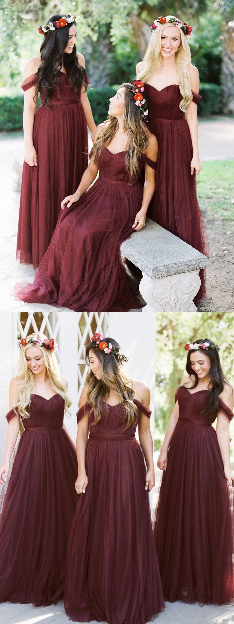 Burgundy tulle bridesmaid dresses off the shoulder long bridesmaid