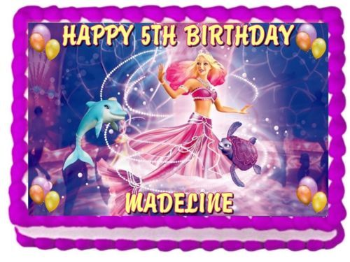 Barbie The Pearl Princess Edible Cake Topper Birthday Decorations
