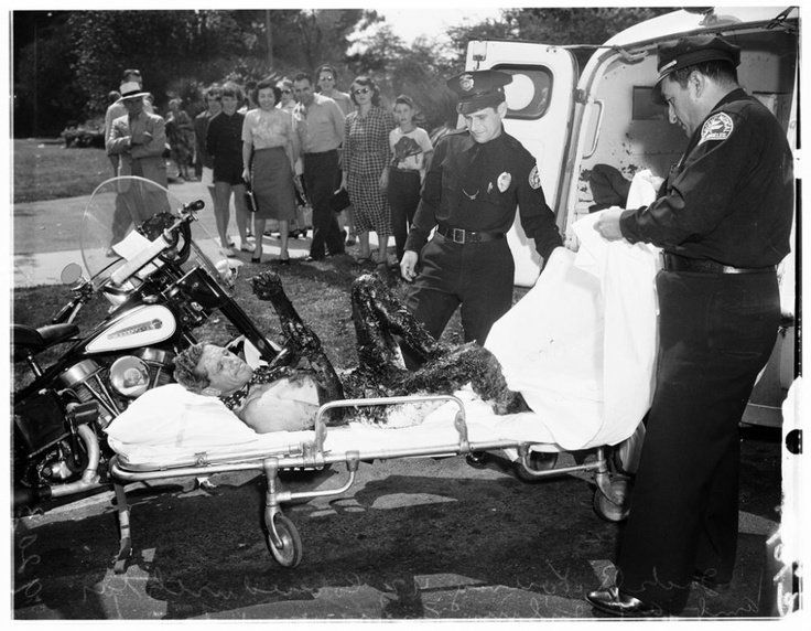 A man taken to hospital after rescuing his dog from the La Brea Tar Pits Los Angeles 1951. https://t.co/9FtsqOX3ee