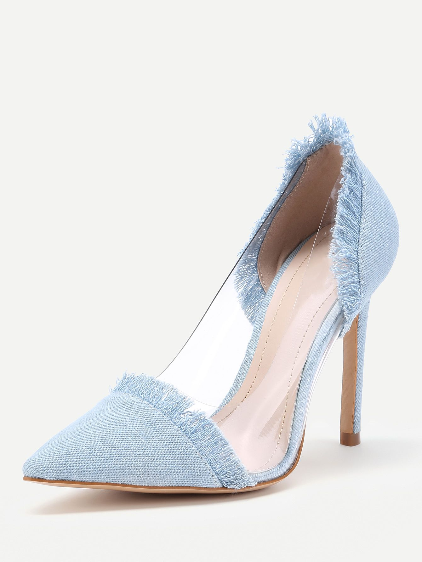 4cfbeca312e Shop Clear Detail Pointed Toe Denim Heels online. SheIn offers Clear Detail  Pointed Toe Denim Heels   more to fit your fashionable needs.
