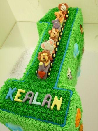 Jungle Animal Train Cake First Birthday Cakes Pinterest Cake