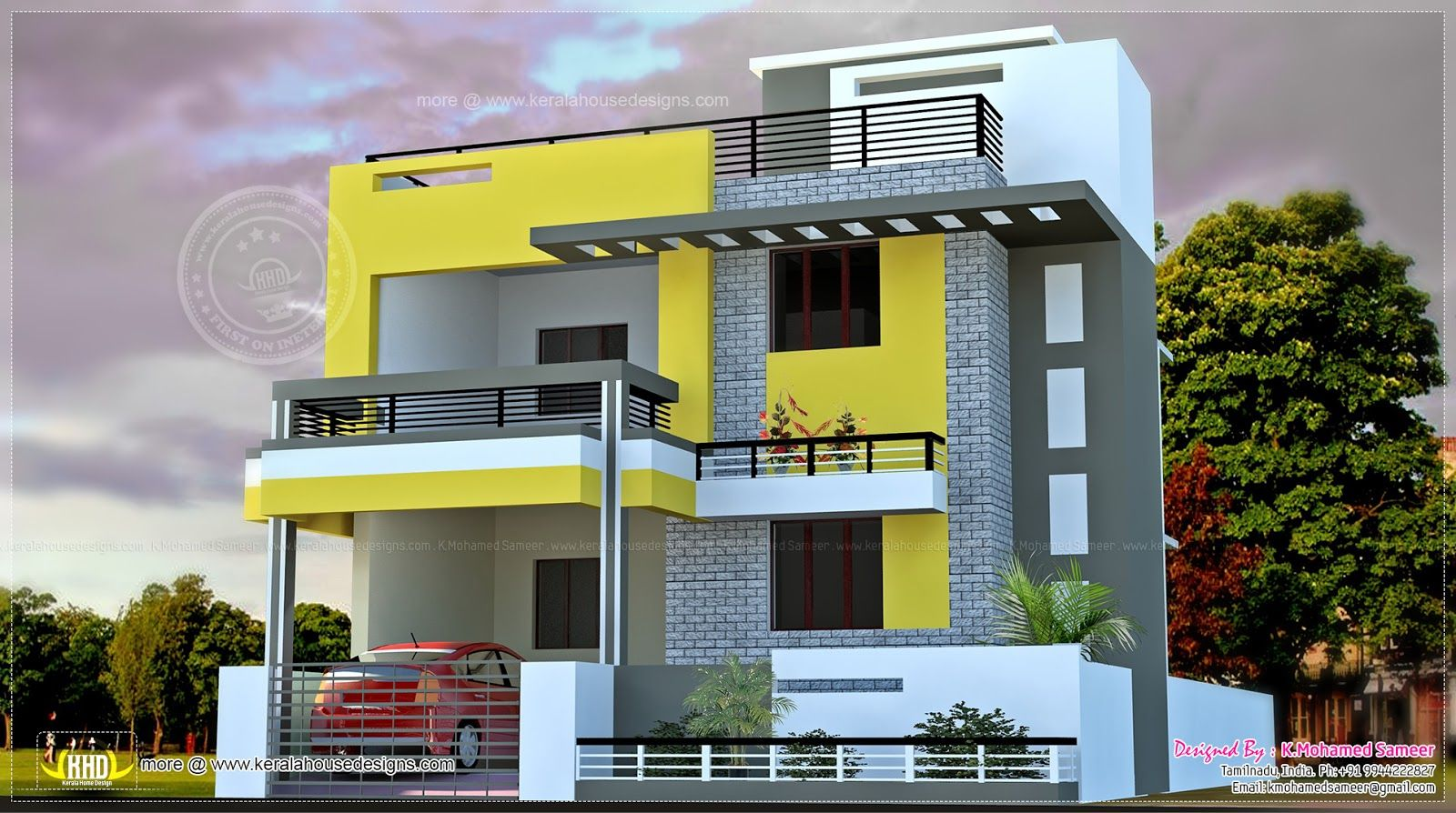Elevations of residential buildings in indian photo for Indian house front elevation photos for single house