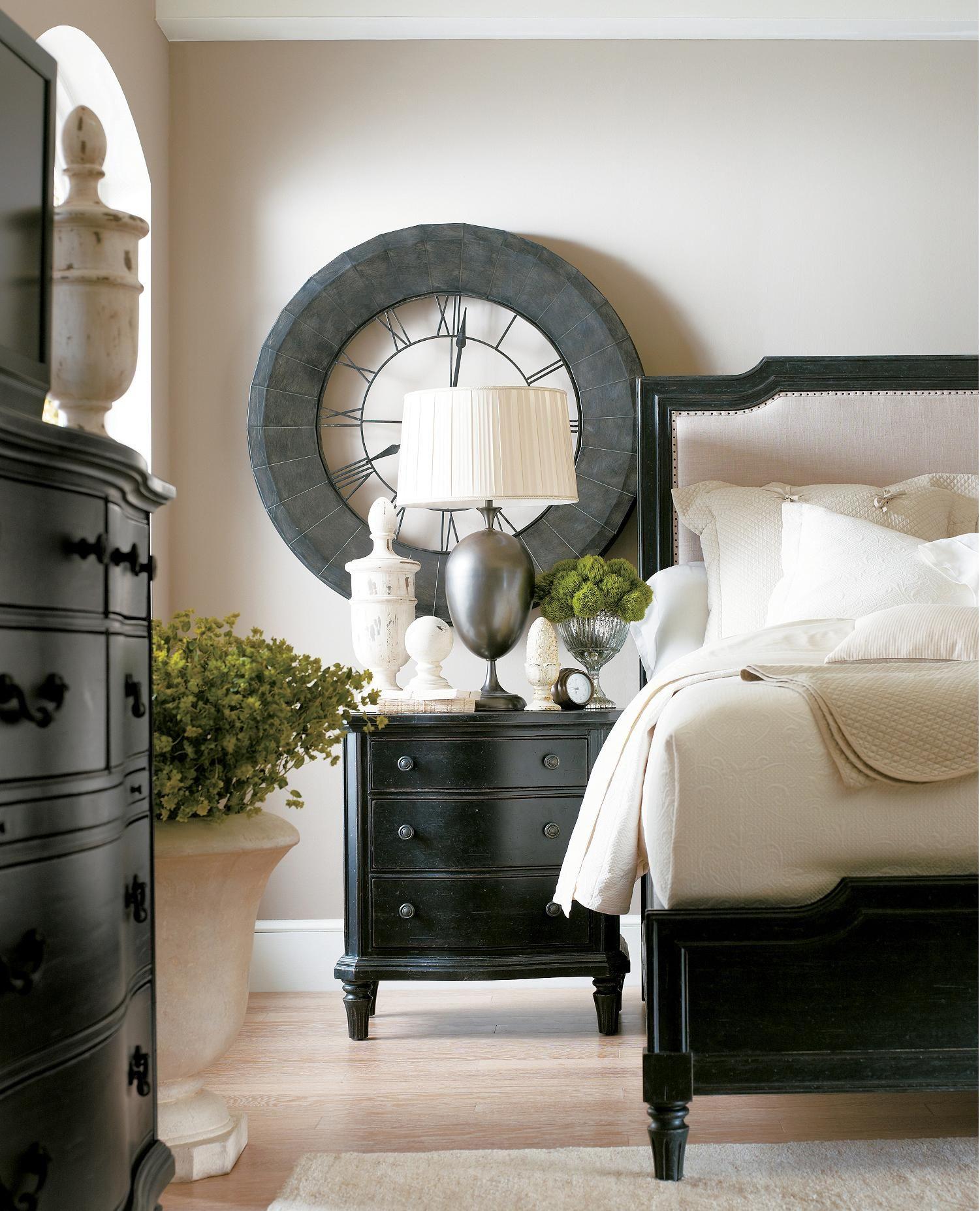 remarkable bedroom white walls black furniture | The Classic Portfolio - European Cottage King Upholstered ...