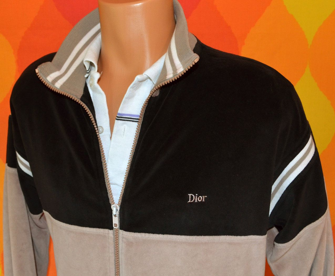 Vintage 80s Velour Track Jacket Christian Dior Warm Up Zipper Etsy Track Jackets Jackets Velour