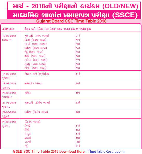 10th Time Table 2018 Pdf