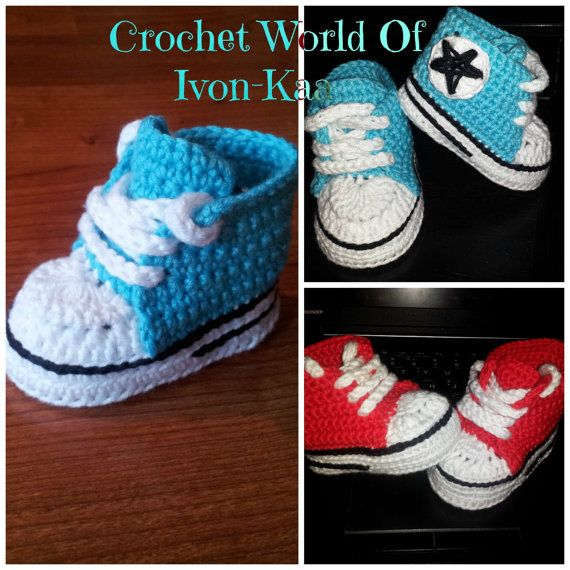 Crochet Pattern Baby Boy Girl Inspired By Converse Style Shoes Pdf