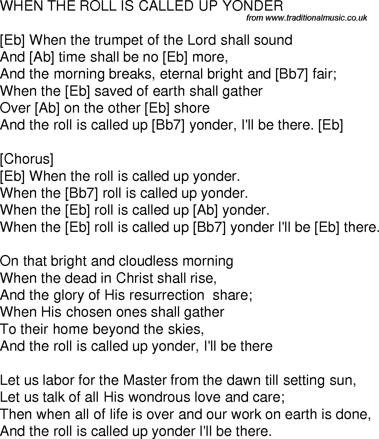 Old Time Song Lyrics With Chords For When The Roll Is Called Up