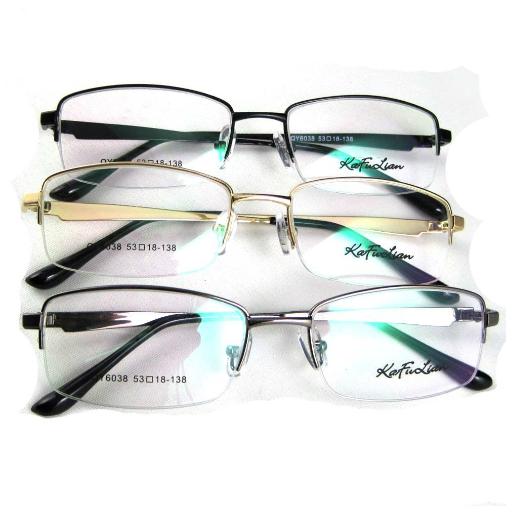 Fashion Rectangular Eyeglasses Men Half Rimless Eyeglasses Frame Eye ...