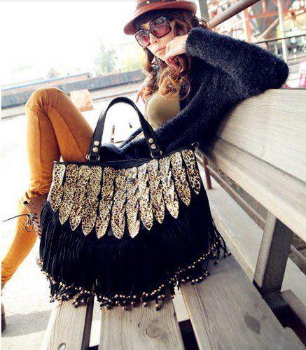 (1) Vintage Leopard Tassel Bag on Wanelo