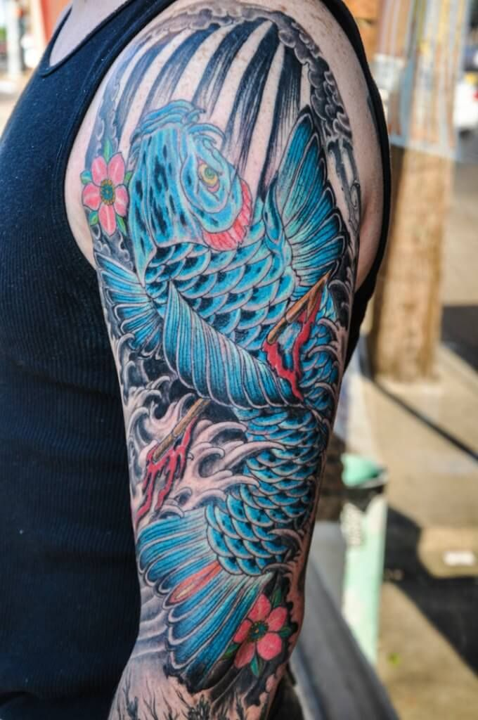 Blue and black koi fish tattoo google search art ink for Black koi fish meaning