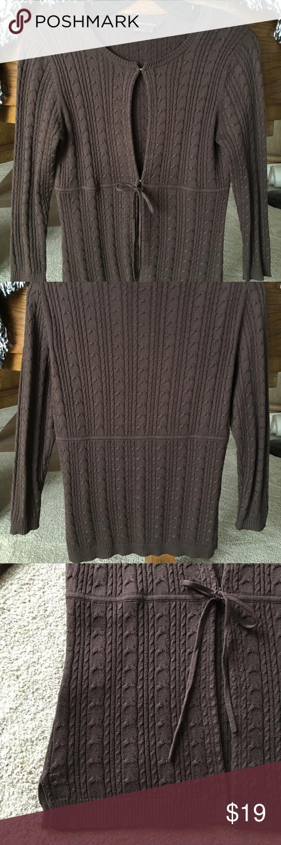 BCBGMaxAzria Dark Brown Silk/Cotton Cardigan (S) | Dark brown ...