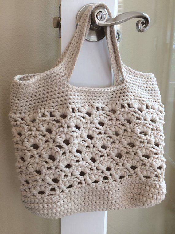 da9e28d1ccb0 SALE    Crocheted Handbag Purse    Crochet Tote Bag    Beach Bag    Book Bag     Women s Purse    Bea