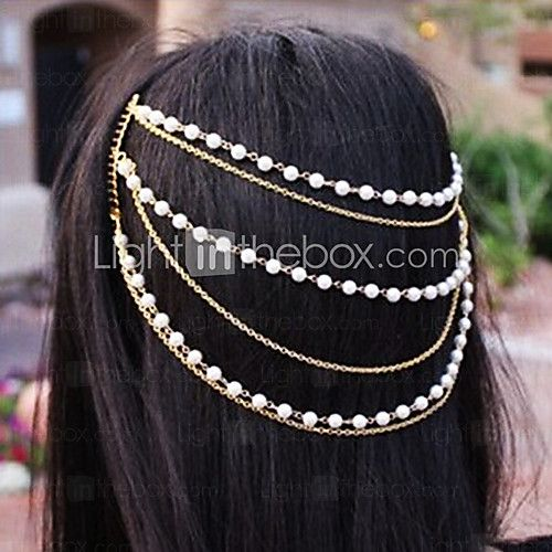 Shixin®+Classic+Pearl+Handmade+Tassel+Golden+Headband(1+Pc)+-for bridesmaid
