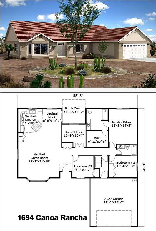 Canoa ranch 1694 sf single story floor plans pinterest for Custom dream home floor plans