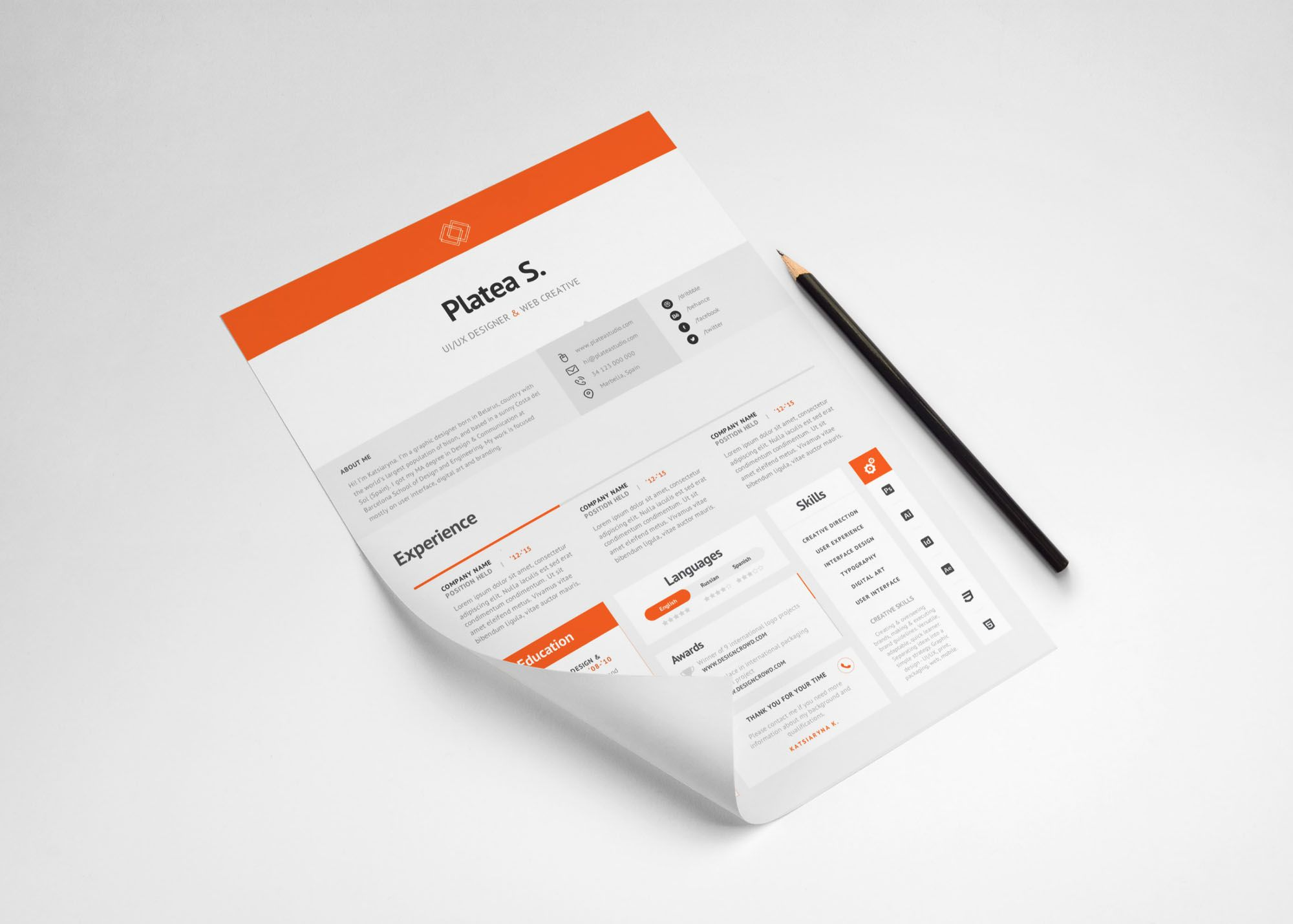 A4 / US Letter Resume Template Resume template free, Psd