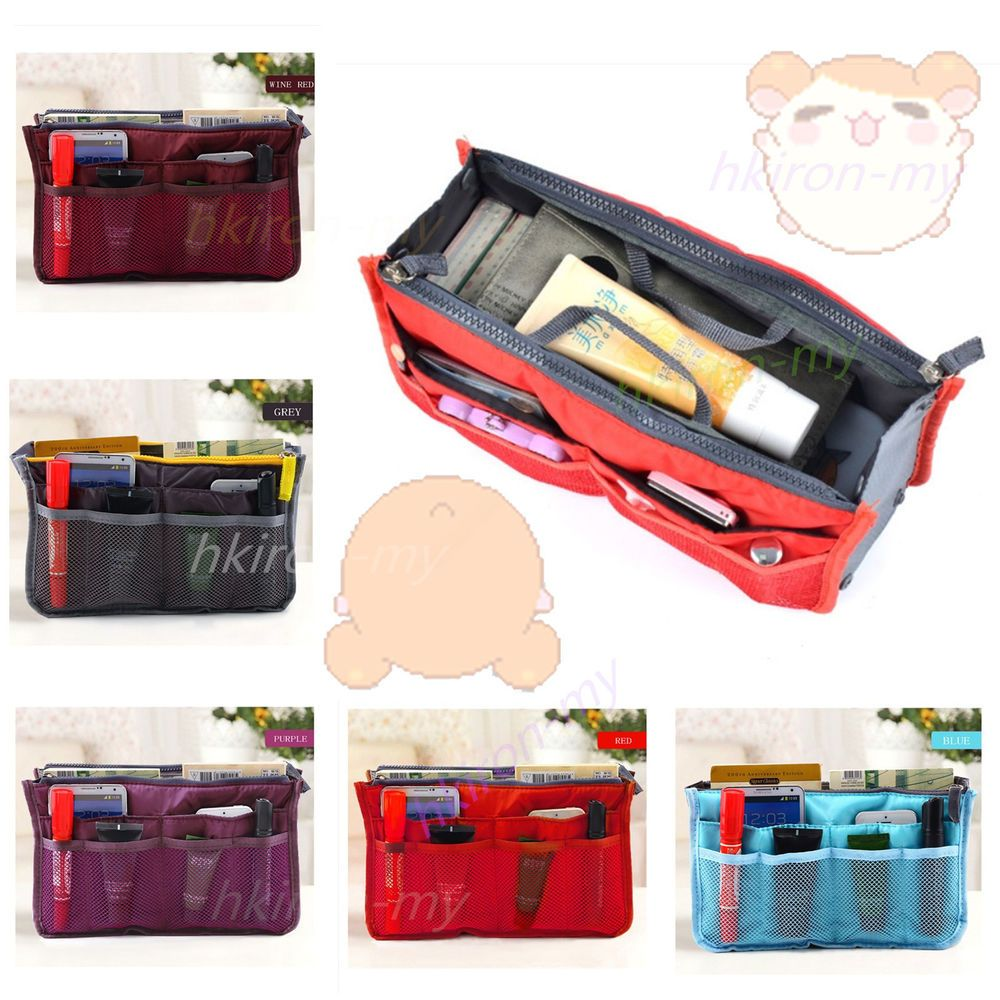 Dual Bag in Bag Organizer Travel Insert Handbag Organiser Large Liner Purse Hot