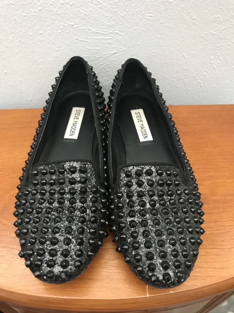 6b78fd968d39 Womens STEVE MADDEN Black Glitter And Spiked Loafers Size  7.5  fashion   clothing  shoes  accessories  womensshoes  flats  ad (ebay link)
