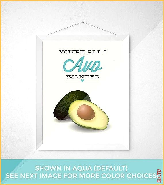 Kitchen Print  You re all I Avo wanted  Funny modern minimal avocados typography poster wall art ke