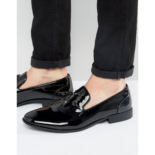 ASOS Tassel Loafers In Black Patent ($32) via Polyvore featuring men's  fashion, men's