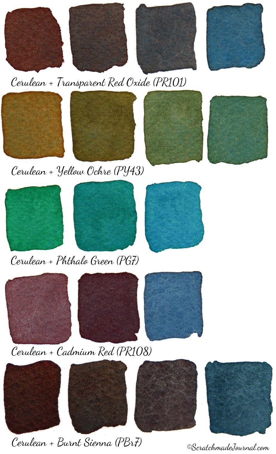 Watercolor Comparison Cerulean Blue Watercolor Mixing Color