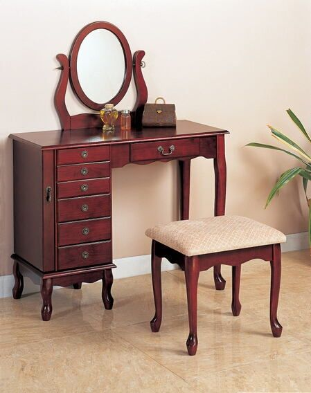 300073 Darby Home Co 3 Pc Cherry Finish Wood Bedroom Makeup Vanity Set With Jewelry Armoire Base With Mirror And Stool Bedroom Vanity Set Vanity Table Set Coaster Fine Furniture
