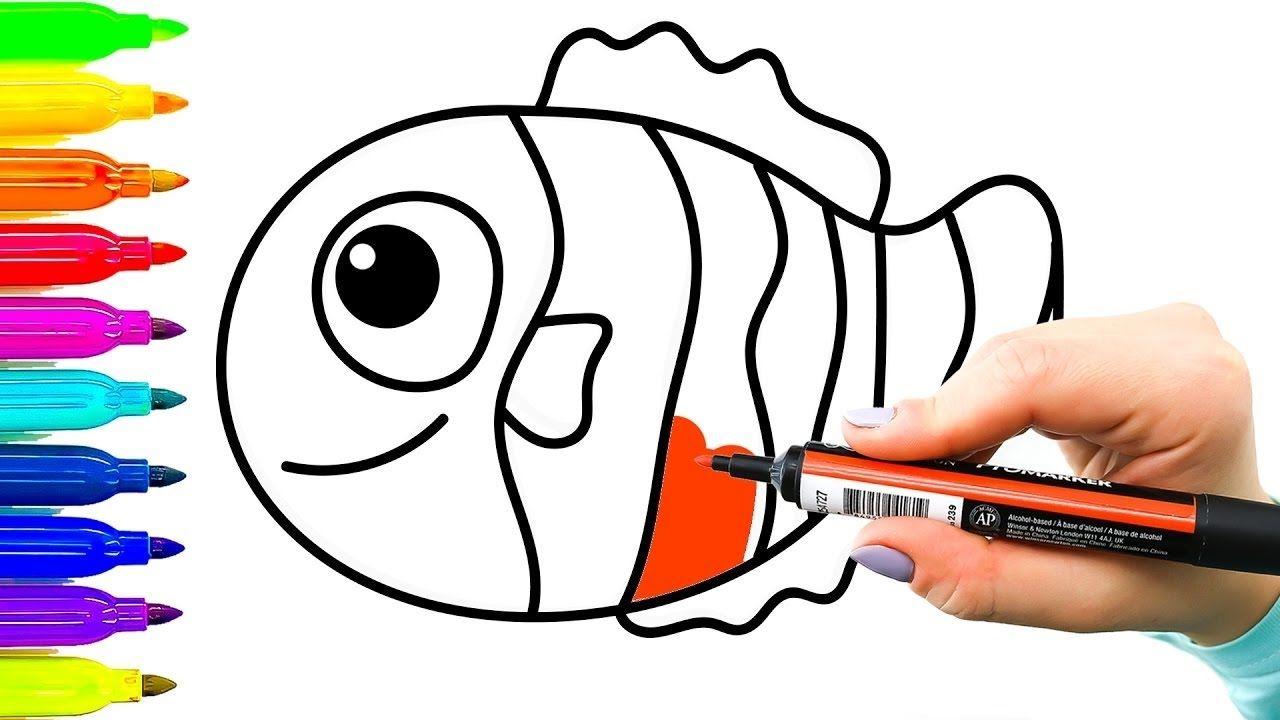 تعلم رسم وتلوين السمكة نيمو للاطفال كرتون اطفال Art Youtube