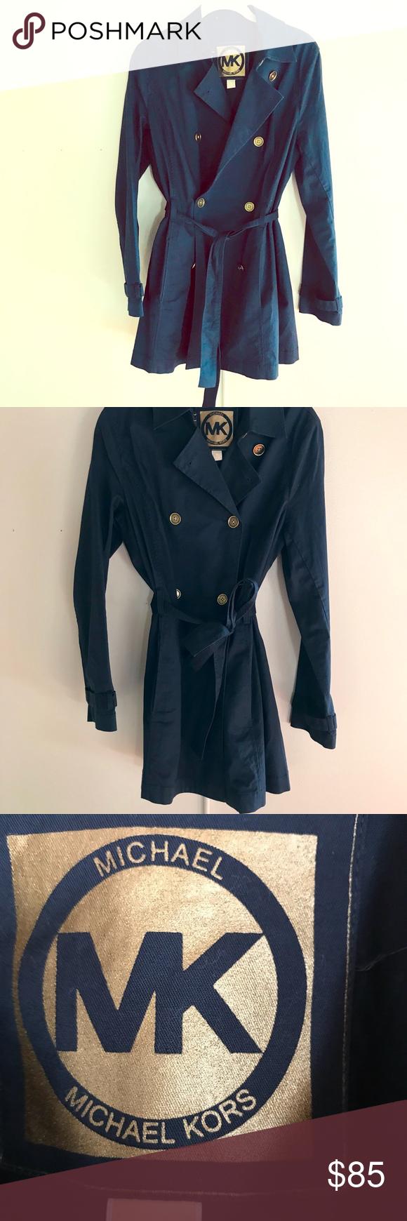 Michael kors navy blue light trench jacket pinterest