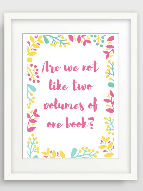 Items Similar To Are We Not Like Two Volumes Of One Book Love Quote Print  Wall Quotes Love Quote Signs Cute Love Quotes Sayings Love Print Quotes Love  Words ...
