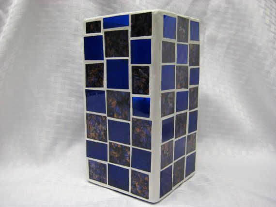 Blue/Bronze Feathered / Blue Glass Flower vase by AMPItUpMosaics, $40.00