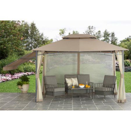 Better Homes And Gardens Cabin Style Gazebo 10 X 12 Walmart Com Patio Outdoor Gazebos Garden Cabins