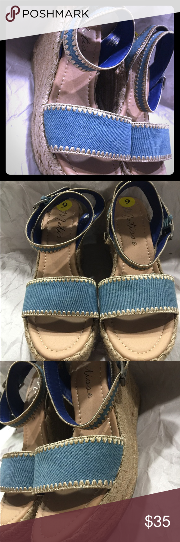 Matisse Blue Jean Shoes size 8 1/2 with straps