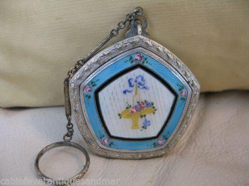 Vintage Art Deco Nouveau Blue White Guilloche Gold Bride Basket Compact MAY FAIR