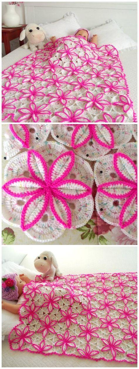 Princessa Blanket Crochet Pattern #flowerbeds
