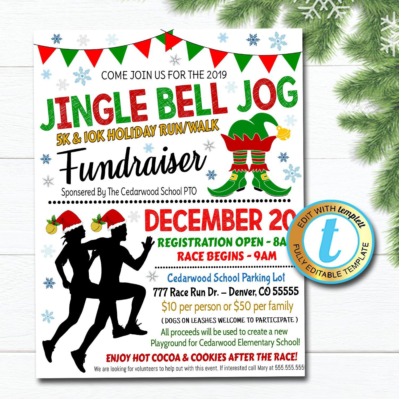 Elf Run Flyer, Christmas Race, Santa Run Walk School