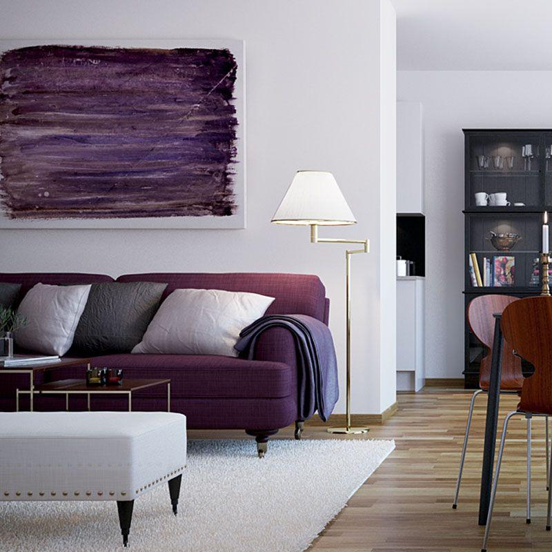 Purple Sofa Furniture For Living Room Of Scandinavian Interior Style