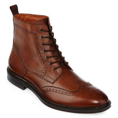 Deacon Mens Wingtip Leather Boots