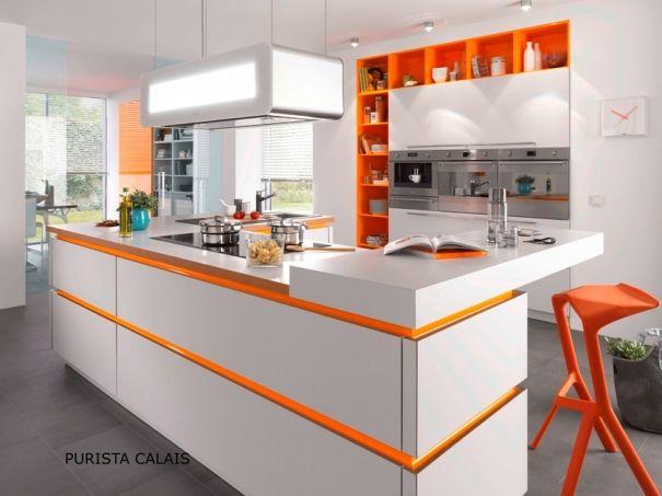 Dark grey matt kitchen with red handleless rails Description from